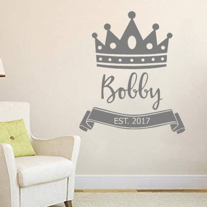 Princes's Crown with Personalised Name Vinyl Wall Sticker
