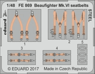 Eduard 1/48 Beaufighter Mk.VI Seatbelts Steel (for Tamiya kit)