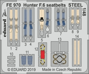 Eduard 1/48 Hawker Hunter F.6 Seatbelts Steel Zoom Set (for Airfix kit)