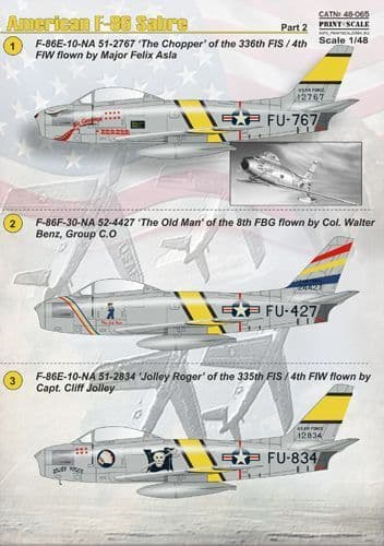 Print Scale 1/48 American F-86 Sabre Part 2 Decals