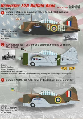 Print Scale 1/48 Brewster F2A Buffalo Aces Decals