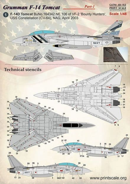 Print Scale 1/48 Grumman F-14 Tomcat Part 1 Decals