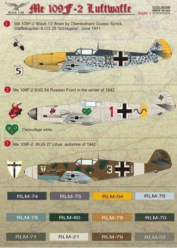 Print Scale 1/48 Me 109F-2 Luftwaffe Part 1 Decals