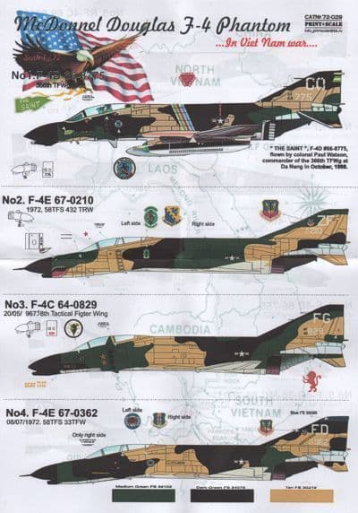 Print Scale 1/72 F-4 Phantom in Vietnam War Decals