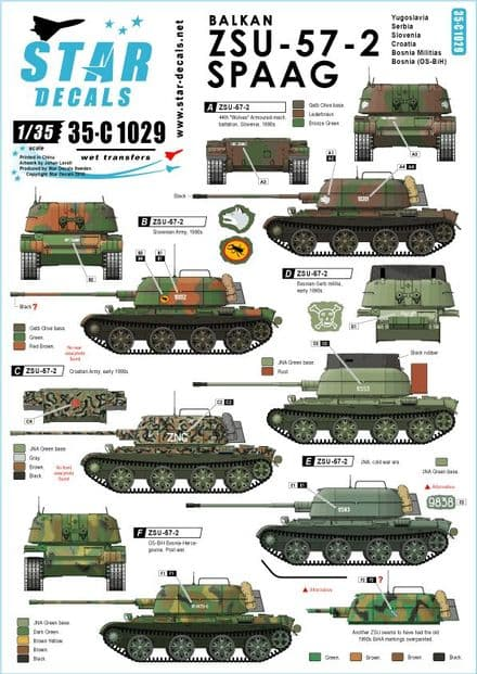 Star Decals 1/35 Balkan ZSU-57-2 SPAAG Decals