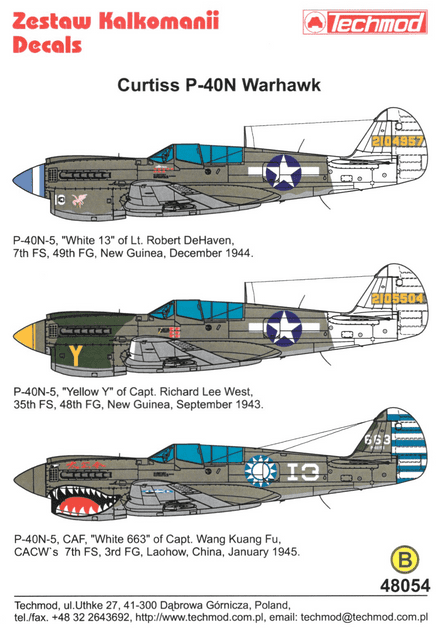 Techmod 1/48 Curtiss P-40N Warhawk Decals