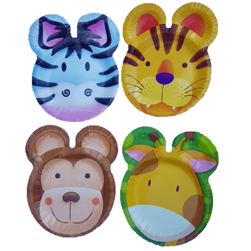 Jungle Animal Safari - Shaped Plates x 8