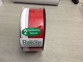 1m x CHRISTMAS WIRE EDGED RIBBON - RED & WHITE