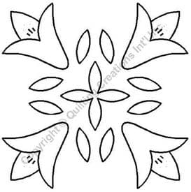 Floral Block Quilting Stencil Size: 11in or 28cm... (Code: QST324)