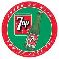 7Up Fresh up with..  300mm round metal sign    (sf)