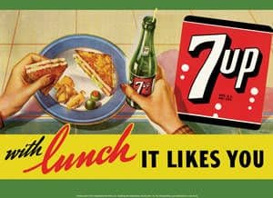7up With Lunch It Likes You large metal sign 425mm x 300mm (sf)