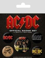 AC/DC albums/logos 5 round Pin Badges in Pack (py)