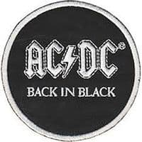 AC/DC Back In Black round logo iron-on /  sew-on embroidered patch  (cv)