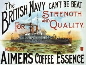 Aimers Coffee Essence (British Navy) large steel sign   400mm x 300mm (og)