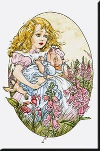 Alice in Wonderland Pig in Arms fridge magnet REDUCED TO CLEAR