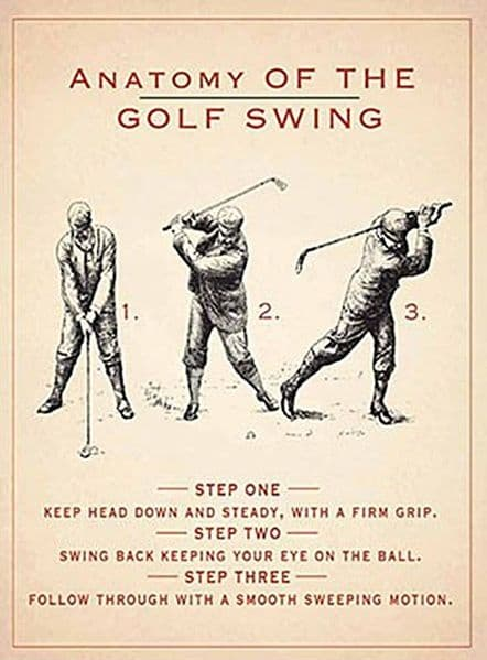 Anatomy Of The Golf Swing small steel sign   200mm x 150mm    (og)