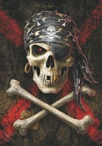 Anne Stokers Pirate Skull Large Fabric Poster/Flag 1050mm x 750mm (hr)