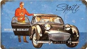 Austin Healey Sprite rusted metal sign   (pst 148)