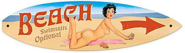 Beach Swimsuits Optional surfboard shaped metal sign (pst)