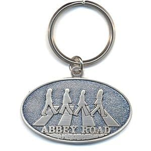 Beatles Abbey Road (metal, oval) metal keyring (ro)