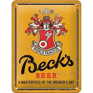 Becks Beer World Famous Crest Small Metal Sign 200mm x 150mm (na)