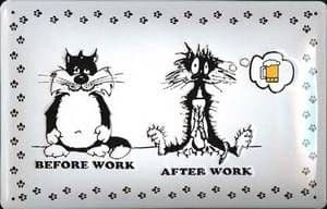 Before Work/After Work embossed steel funny wall sign