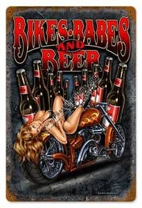 Bikes Babes and Beer metal sign  (pst 1812 pt)