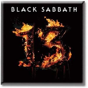 Black Sabbath 13 in flames steel fridge magnet     (ro)