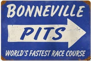 Bonneville Pits rusted steel sign 460mm x 300mm (pst 1812)