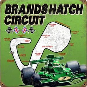 Brands Hatch replica rusted steel sign 300mm x 300mm (pst)