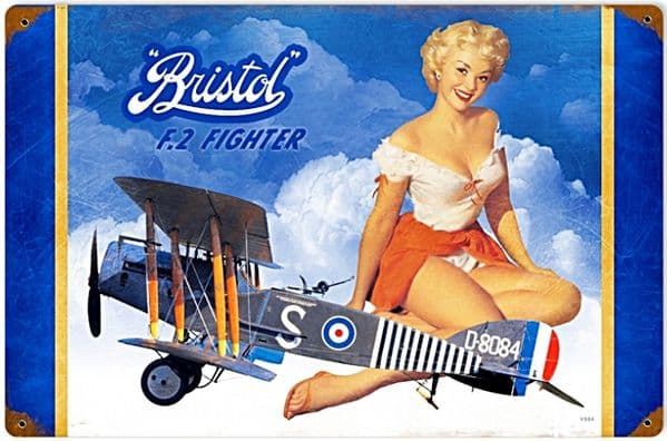 Bristol F2 Fighter PinUp rusted metal sign  (pst 1812)