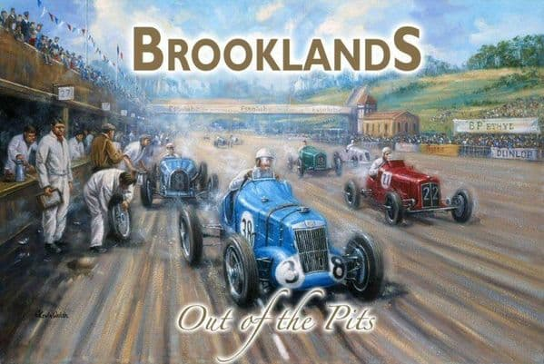 Brooklands- Out Of The Pits small steel sign  200mm x 150mm (og)
