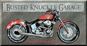 Busted Knuckle Bike Metal Sign