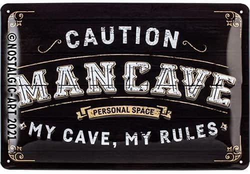 Caution Man Cave embossed metal sign 300mm x 200mm (na)