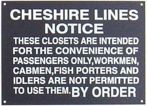 Cheshire Lines Closets enamelled steel wall sign