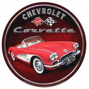 Chevrolet Corvette Early 60's round metal sign  (sf)