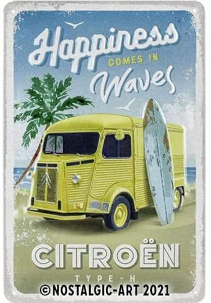 Citroen Type H - Happiness Comes In Waves embossed metal sign 300mm x 200mm (na)