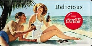 Coca Cola Delicious large embossed steel sign    (na 5025)