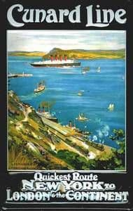 Cunard Line Quickest Route from Fishguard embossed steel sign  (hi 2030)