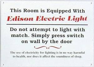 Edison Electric Light enamelled steel wall sign  (dp)