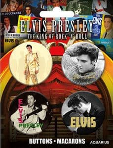 Elvis Presley Set of 4 Pin Badges (nmr)