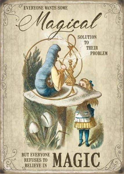 Everyone Wants Some Magical Solution... Alice In Wonderland Small Metal Sign(og)