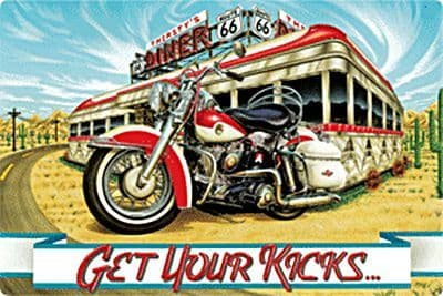Get Your Kicks Route 66 Motorcycle large metal sign    360mm x 240mm    (ar)