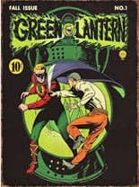 Green Lantern comic cover metal sign
