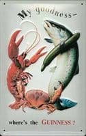 Guinness Crab Lobster Fish Embossed Metal Wall Sign 300mm x 200mm (hi)