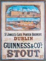 Guinness Dublin Brewery Embossed Metal Sign 400mm x 300mm (large)