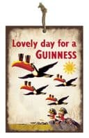 Guinness Flying Toucans Mini Metal Sign Hanging Decoration  80mm x 110mm (sg)