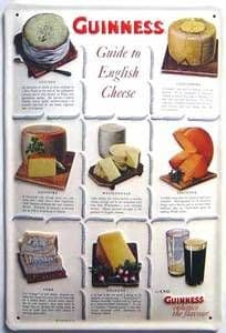 Guinness - Guide to English Cheeses embossed metal sign  (hi 2030 pt)