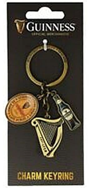Guinness keyring with Harp, Bottle and Label charms (sg 5643)