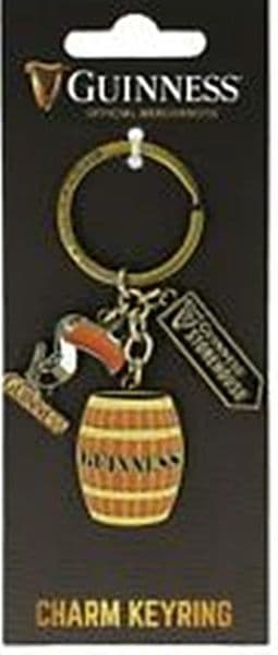 Guinness Keyring with Toucan, Barrel and Storehouse sign  charms (sg 5640)